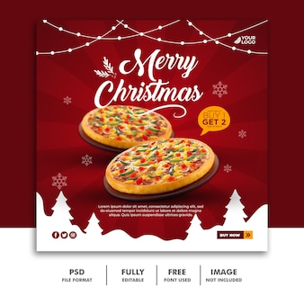 Kerst social media post-sjabloon voor spandoek voor food restaurant menu