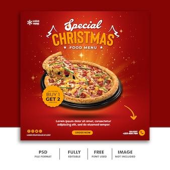 Kerst social media post-sjabloon voor spandoek voor food restaurant menu