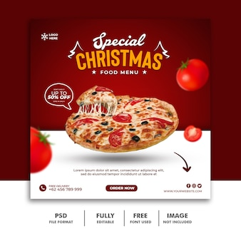 Kerst social media post-sjabloon voor spandoek voor restaurant fastfood menu pizza