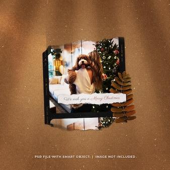 Kerst social media post torn photo polaroid mockup