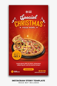 Kerst social media stories template restaurant voor fastfood menu pizza