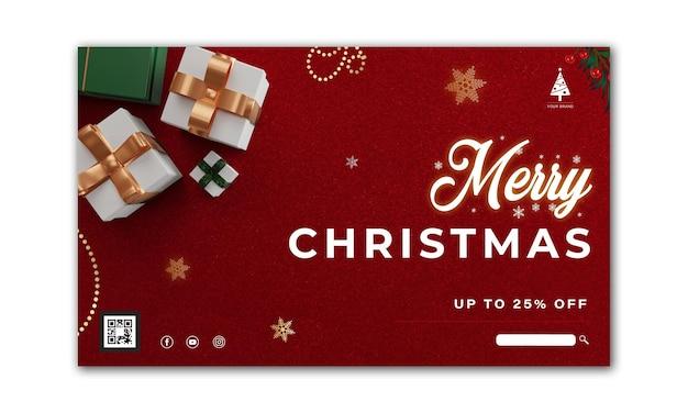 Kerst spandoek. achtergrond xmas ontwerp van witte en groene geschenken vak 3d render, gouden sneeuwvlok. horizontale kerstposter, wenskaart, headers voor website