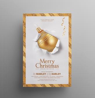 Kerst uitnodiging sjabloon folder