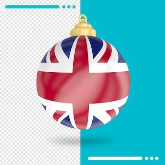 Kerst verenigd koninkrijk vlag 3d-rendering geïsoleerd