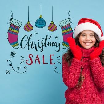 Kerst verkoop advertentie met meisje mock-up