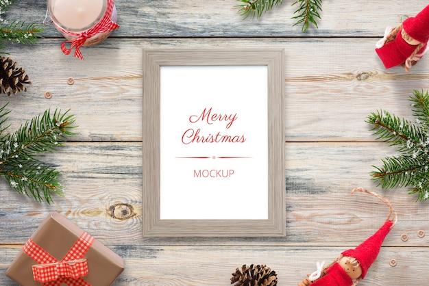 Kerst verticale fotolijst mockup