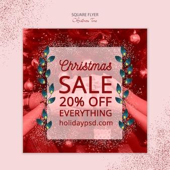 Kerst vierkante flyer verkoop concept