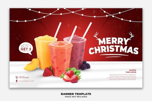 Kerst webbanner of bestemmingspagina sjabloon voor voedselrestaurant