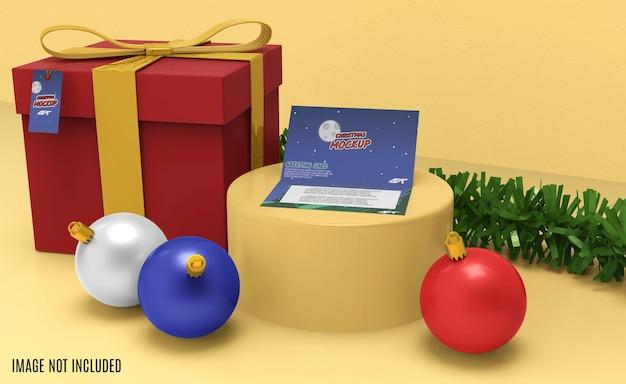 Kerst wenskaart mockup 3d-rendering