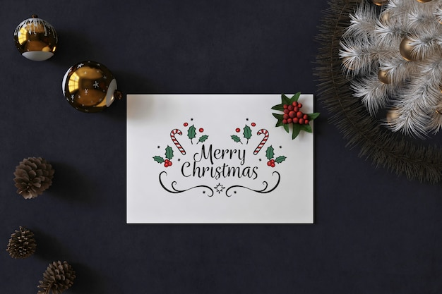 Kerst wenskaart mockup met kerst concept