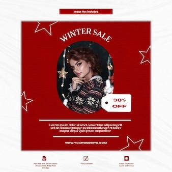 Kerst winter sale damesmode instagram post sociale media premium sjabloon