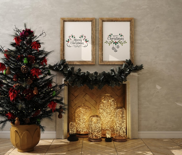 Kerst woonkamer met mockup posterframe en kerstboom
