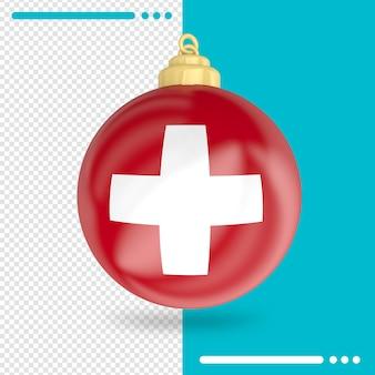 Kerst zwitserland vlag 3d-rendering geïsoleerd