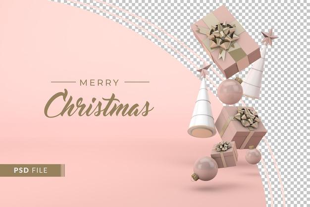 Kerstbanner met roze decoratie