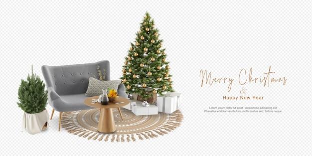 Kerstbomen en bank in 3d-rendering