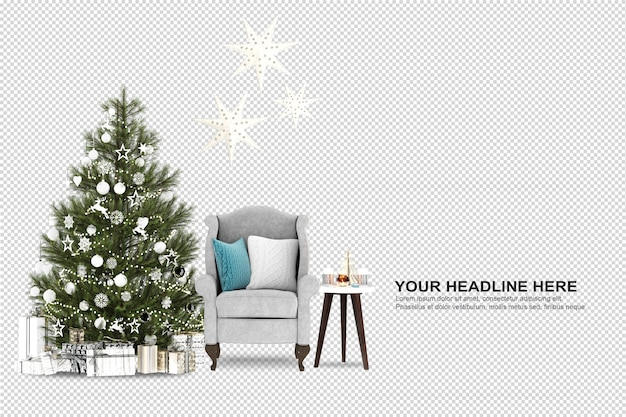 Kerstboom en fauteuil in 3d-rendering