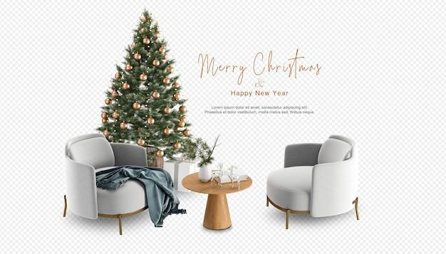 Kerstboom en moderne fauteuils in 3d-rendering