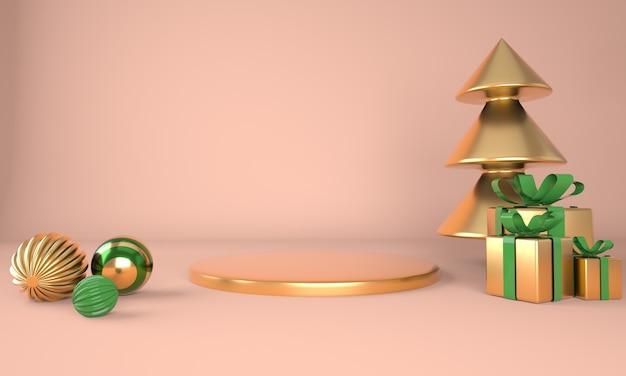 Kerstboom en podium 3d-rendering