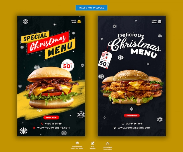 Kerstburger menu sociale media of instagram verhalen sjabloon premium psd