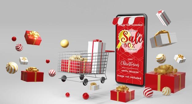Kerstcadeau geven concept in 3d-rendering