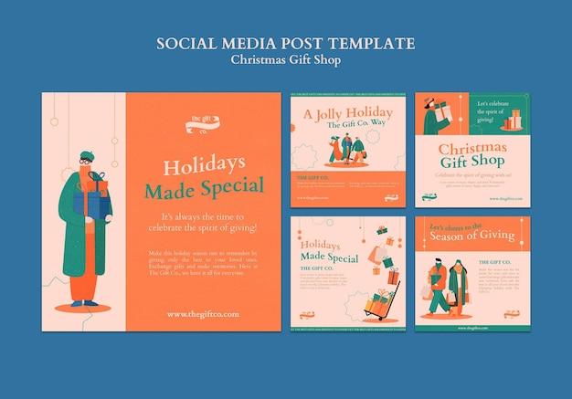 Kerstcadeau social media posts ontwerpsjabloon