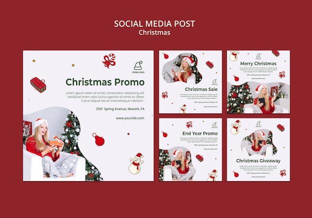 Kerstcadeautjes shop social media postsjabloon