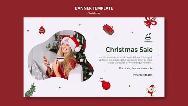 Kerstcadeautjes winkel sjabloon voor spandoek