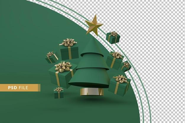 Kerstconcept met zwevende kerstboom en geschenken