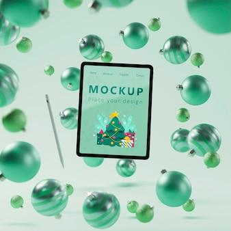 Kerstdecoratie achtergrond met mock-up