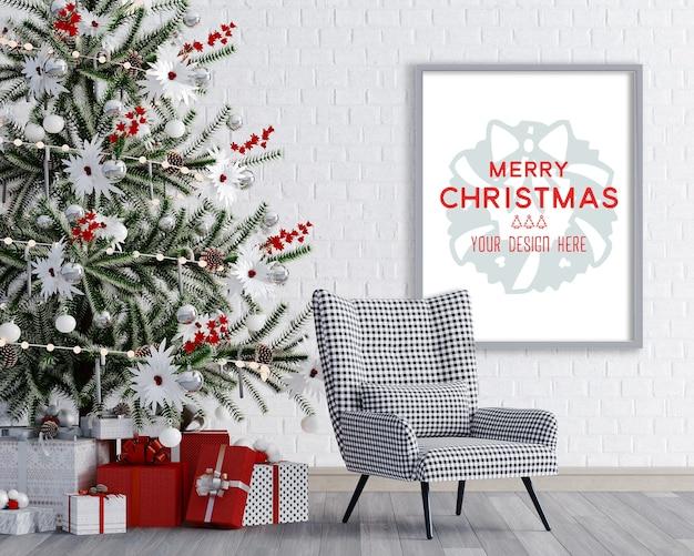 Kerstdecoratie in een kamerhoek met stoel en frame mockup