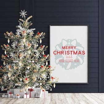 Kerstdecoratie met fotolijst mockup