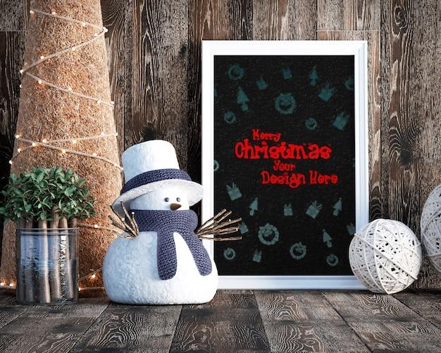 Kerstdecoratie met frame mockup, kerstboom en geschenkdozen