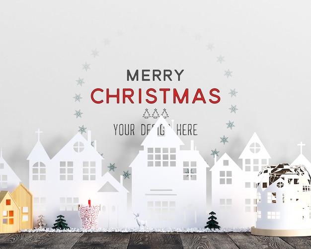 Kerstdecoratie met huizen gemaakt van papieren mockup