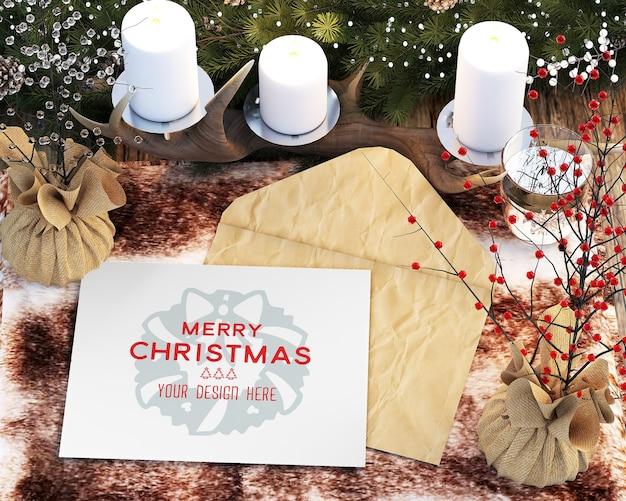 Kerstdecoratie met kerstkaarten en accessoires mockup
