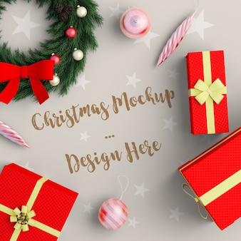 Kerstdecoratie met rode geschenkdoos mockup