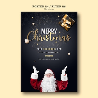 Kerstfeest poster sjabloon