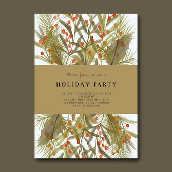 Kerstfeest uitnodigingskaart met aquarel kerstbladeren