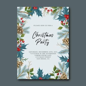 Kerstfeest uitnodigingskaartsjabloon met aquarel kerstbladeren