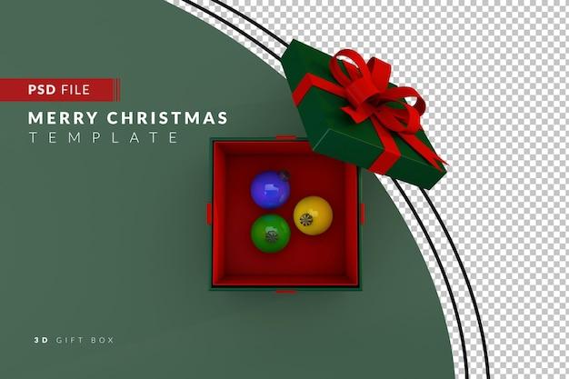 Kerstgeschenkdoos met gekleurde decoratieve bollen