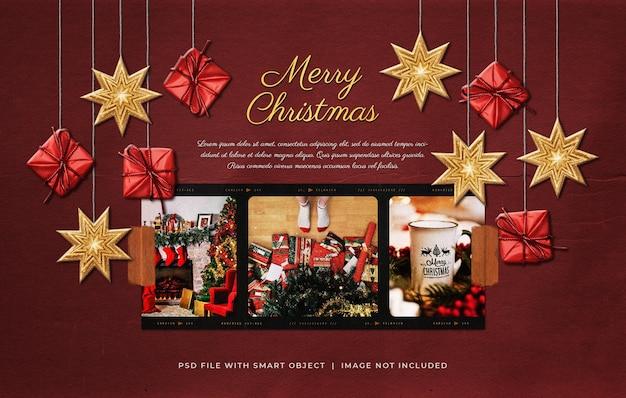 Kerstgroet foto film frame mockup met hangende ornamenten