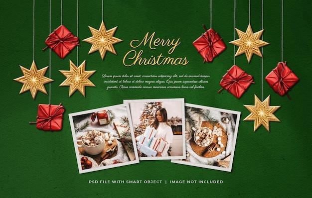 Kerstgroet foto film frames mockup met hangende ornamenten