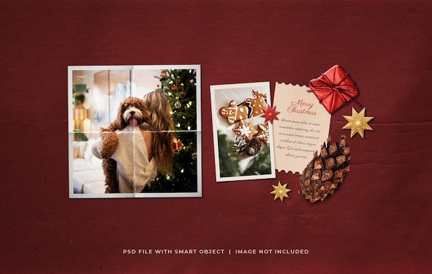 Kerstgroet fotopapier film frame moodboard mockup