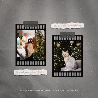 Kerstgroet social media post filmstrip fotolijsten mockup