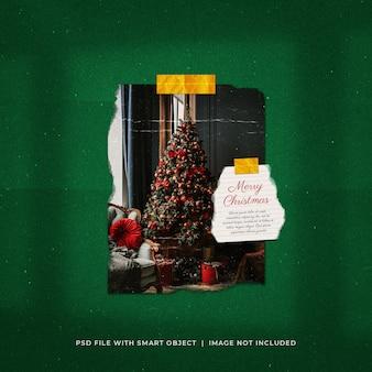 Kerstgroet social media post torn photo paper frame mockup