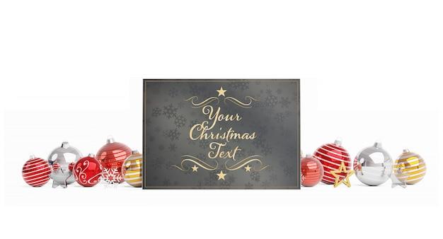 Kerstkaart met kerstballen mockup