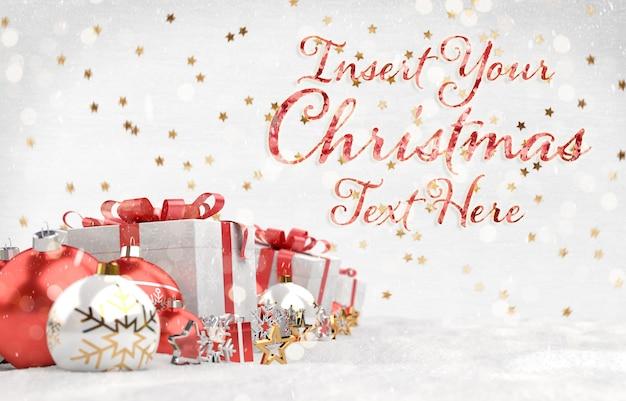 Kerstkaart met sterren tekst en rode decoraties
