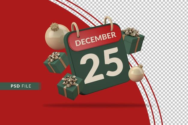 Kerstkalendersjabloon met nummer 25 en 3d-decoratie