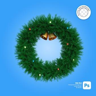 Kerstkrans cirkel en gouden bellen met lichten 3d-object