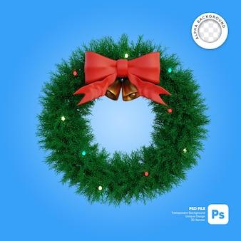 Kerstkrans cirkel en lint en bellen met lichten 3d-object