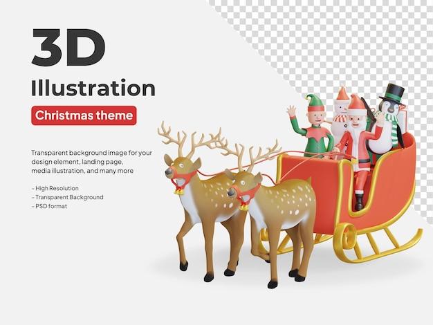 Kerstman en vrienden rijden slee met twee rendieren in kerst 3d illustratie